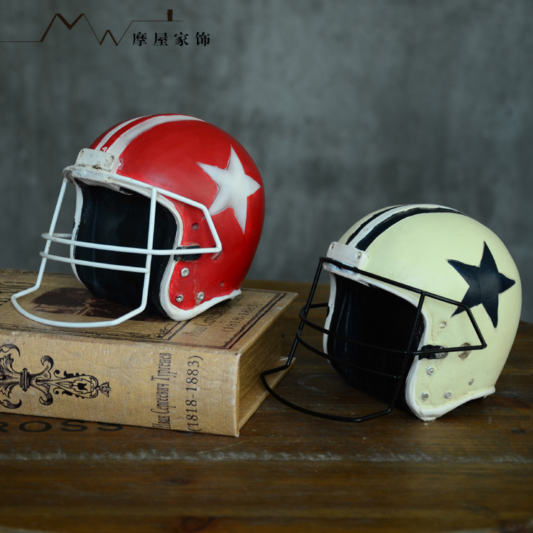 American retro to do the old crafts model home decorations football helmet hat creative resin decoration
