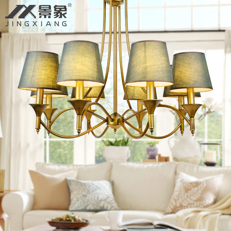 American rural countryside retro fabric mediterranean wrought iron chandelier dining room chandelier nordic creative bedroom living room lamp 36
