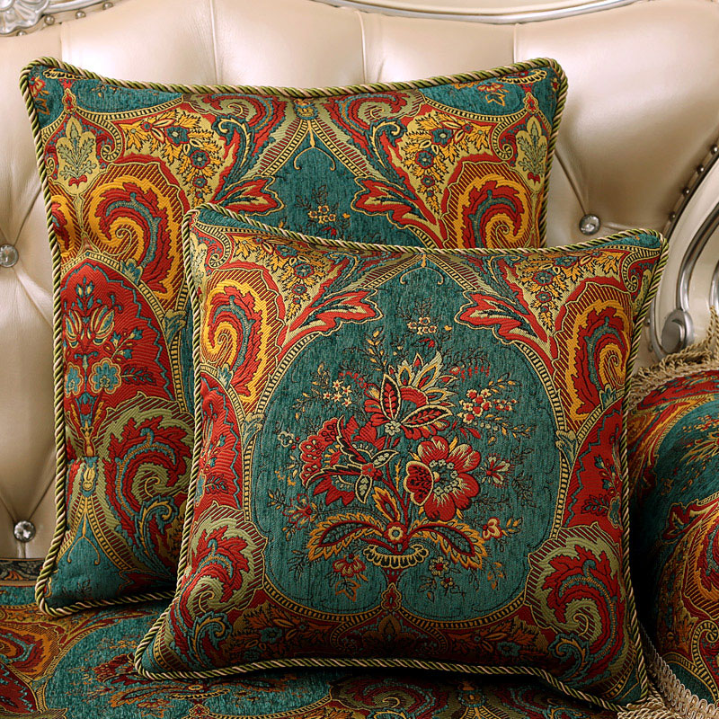 American upscale european luxury fabric sofa pillow cushions car lumbar cushion waist cushion office room chair