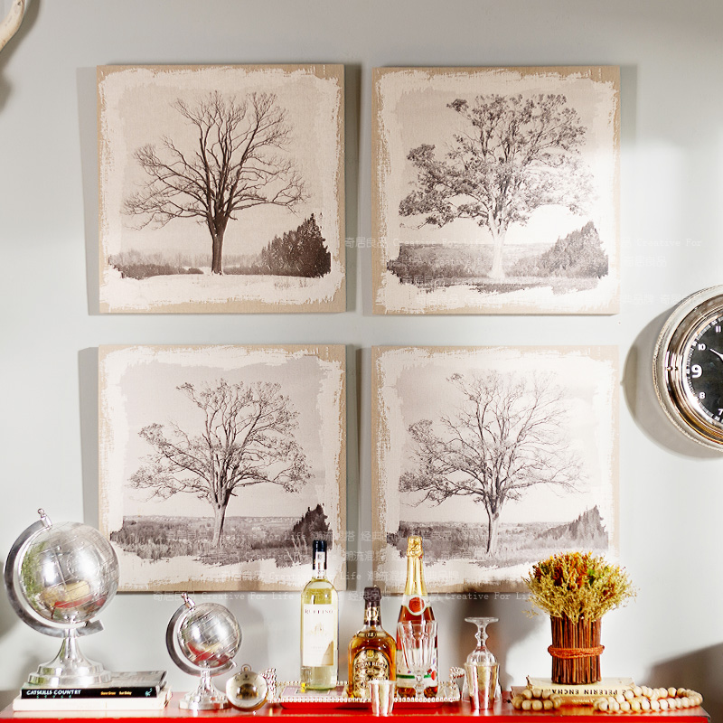 American vintage linen cloth printing plant frameless decorative painting home decorative wall like pulling tree