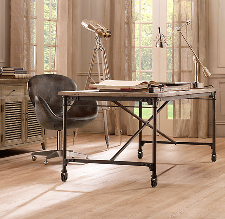 American vintage wrought iron desk computer desk office conference table desk computer desk computer desk with wheels can be mobile computer desk table