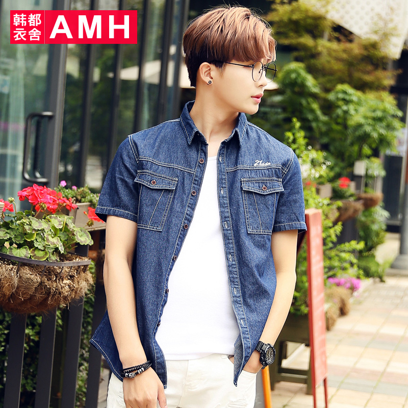 Amh men korean version 2016 summer new slim square collar embroidered denim short sleeve shirt men QZ4297 match