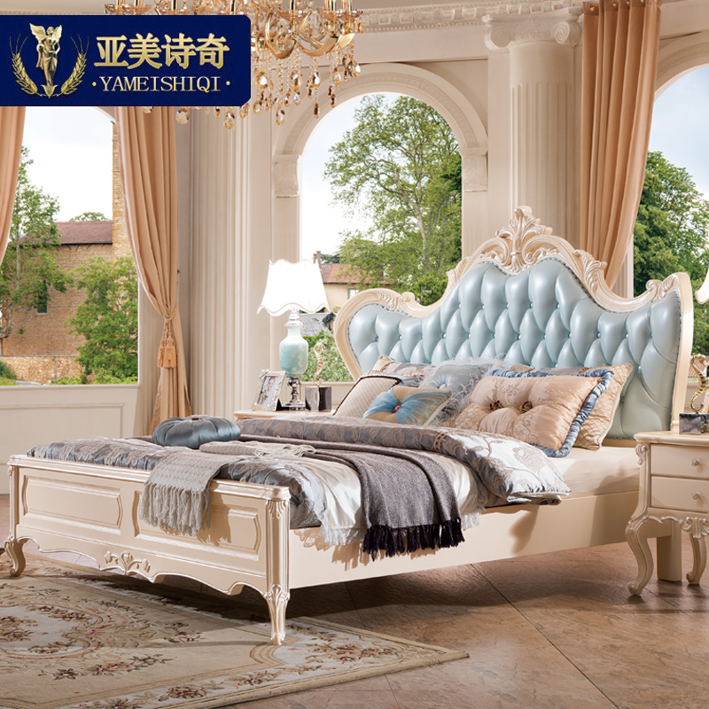 Ami odd poem european leather bed all solid wood bed french double bed 1.8 m leather bed european princess bed bed bed