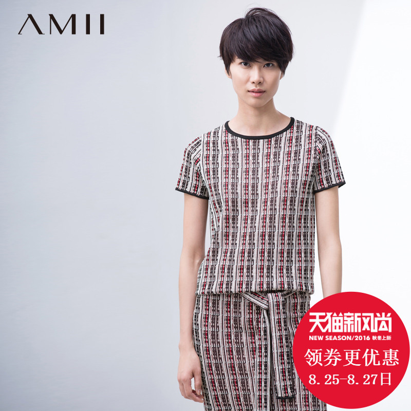 Amii amy flagship store 2016 spring new women's new national wind hit the color pattern knit short sleeve t-shirt