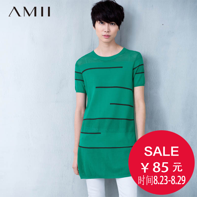 Amii [minimalism] 2016 spring and summer t-shirt big yards openwork knit long sleeve head hit the color line 11680568
