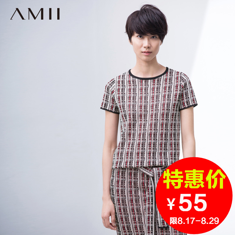 Amii [minimalism] 2016 spring hit color national wind pattern round neck short sleeve knit t-shirt 11680239