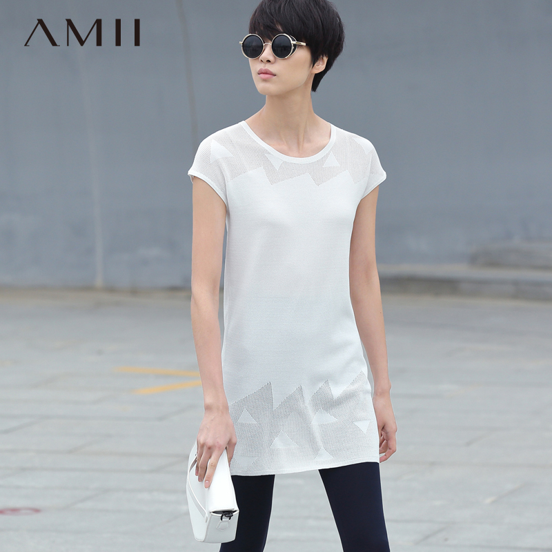 * Amii [minimalism] 2016 summer straight no shoulder line hollow solid round neck long t-shirt 11680323