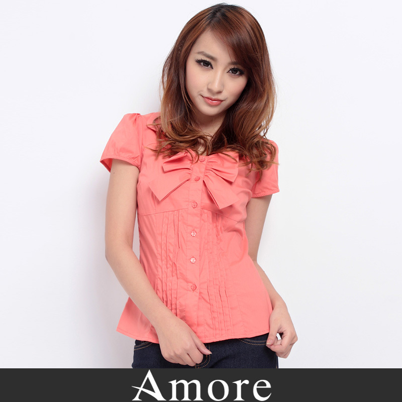 6a9d0c00d2 Get Quotations · Amore genuine counter korean version of spring and summer  blouses lapel short sleeve bow blouse career