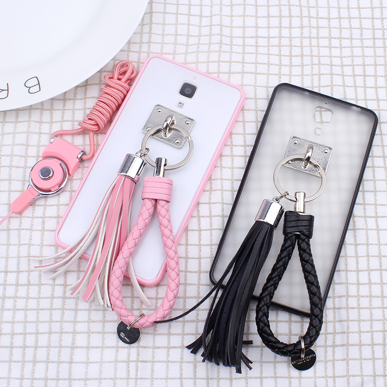 Amoy cool millet 4 mobile phone mobile phone sets of soft silicone shell drop resistance creative day麻辫lanyard tassels female tide models Korean version of the