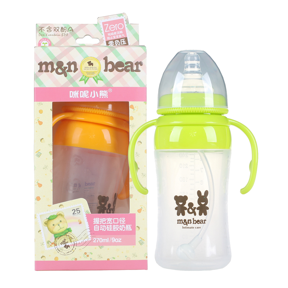 Amy does cubs infant wide caliber automatic grip silicone bottle 170 ml/270 ml with straw