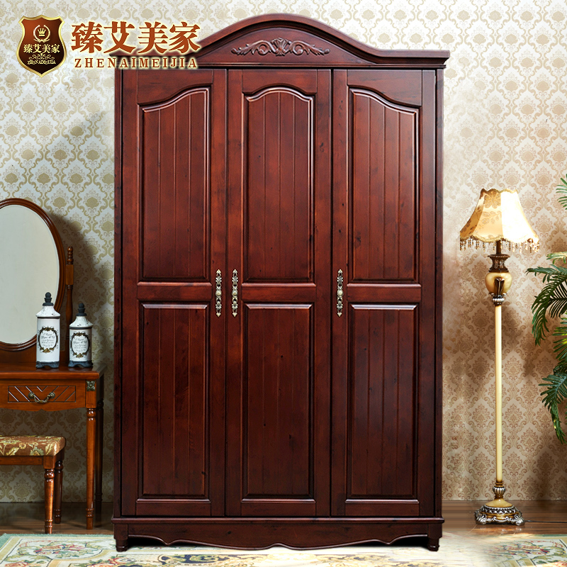 Amy zhen factory direct three wood wardrobe closet american country neoclassical furniture wardrobe