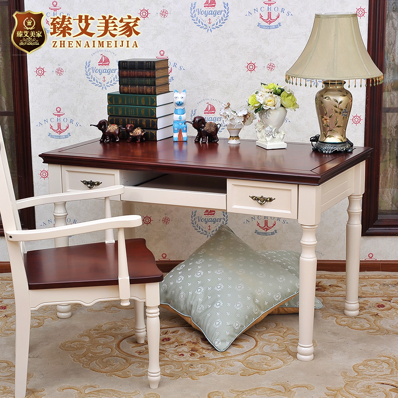 Amy zhen home american country wood desk desk desk with pumping all wood computer desk study furniture minimalist