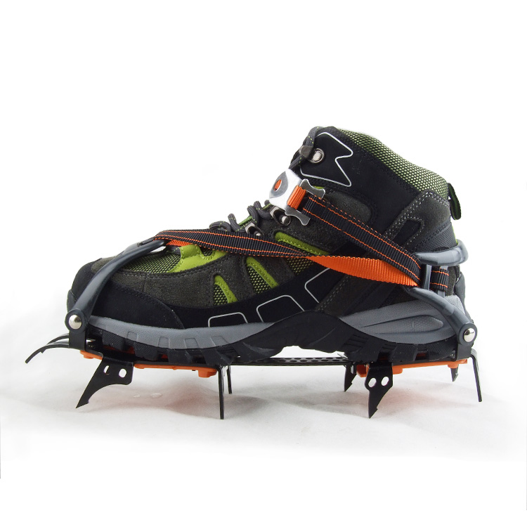 An upgraded version of the professional ten teeth crampons outdoor cleats chain strengthen ice climbers climbing crampons slip shoe covers