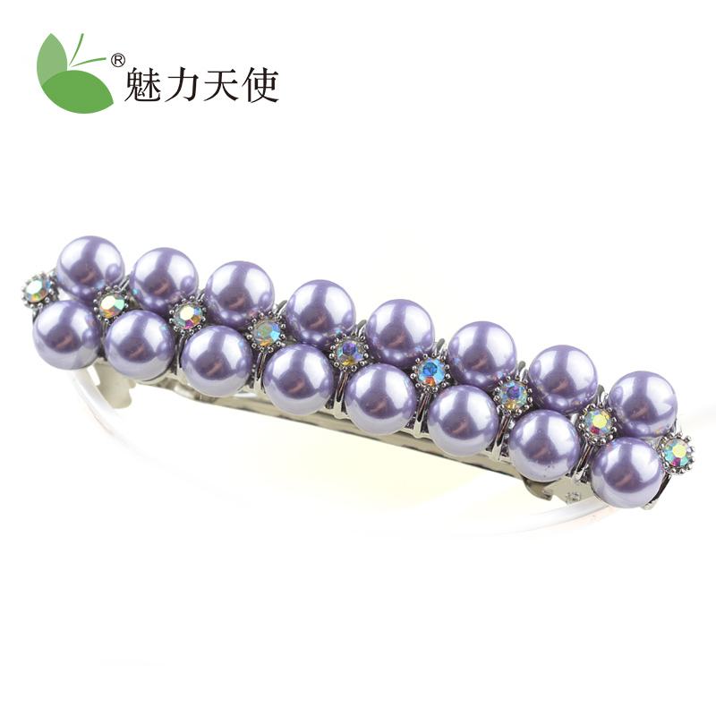 Angel charm korean imitation pearl diamond hairpin hairpin korean headdress hair accessories spring clip top folder cross clip ponytail clip hair