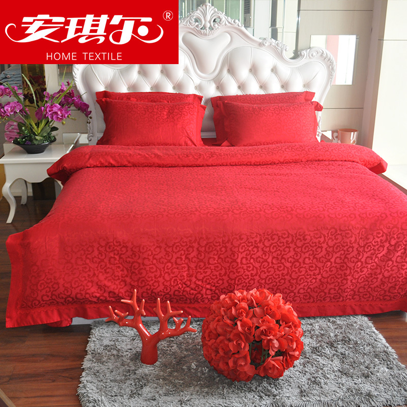 Angel cotton textile jacquard denim wedding bedding package red is a set of linen pillow set free shipping