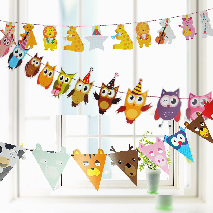Animal paper bunting party dress birthday celebration of children's photography shop small decorative pennant flag hanging flags