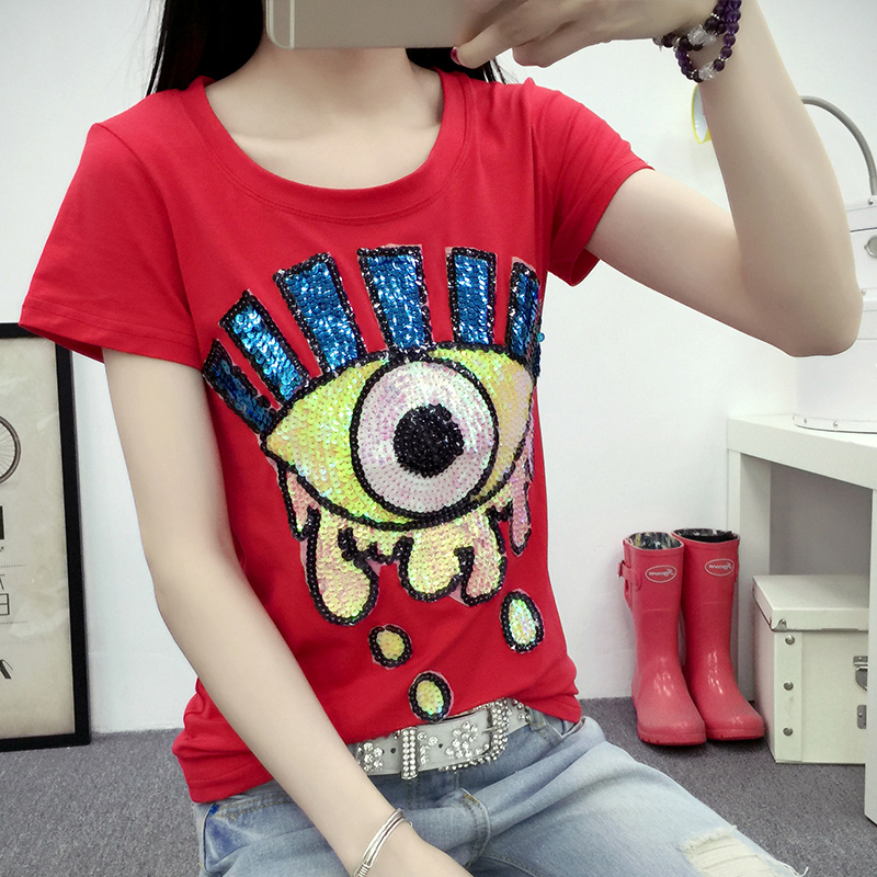Anmashu european style 2016 spring and summer new big eyes sequined short sleeve cotton t-shirt slim ladies coat