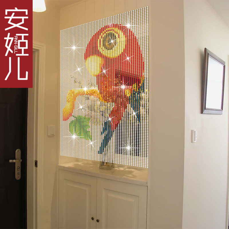 Ann suu kyi portieres composea children crystal bead curtain cartoon children parrot pattern across the living room curtain crystal curtain off