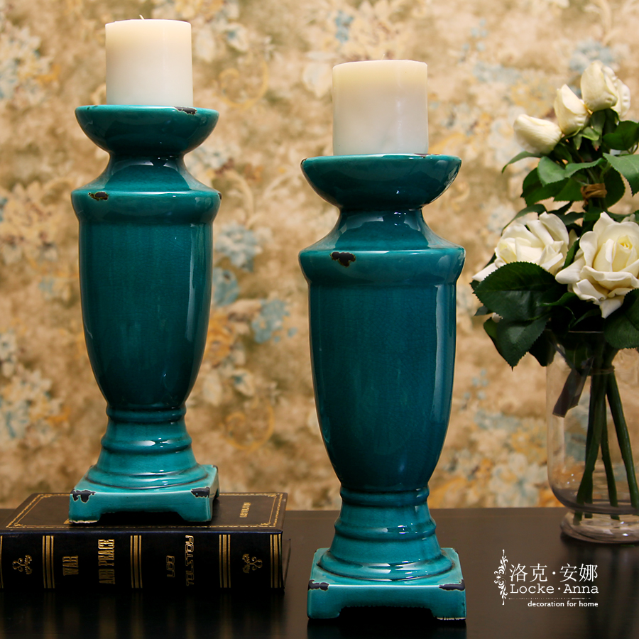 Anna locke european retro french american big candle candlestick ceramic ornaments decorations living room entrance
