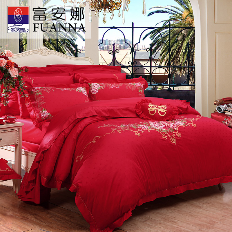 Anna rich textile wedding red denim wedding bedding wedding bedding cotton jacquard eternal love