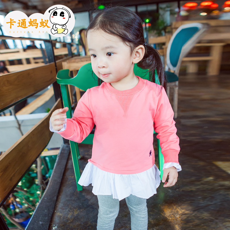 Ant kids cartoon girls dress shirt spring children's baby princess dress lotus leaf side skirt autumn