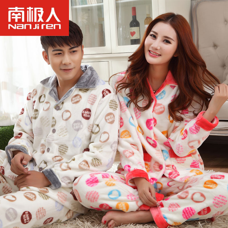 Antarctic autumn and winter warm coat lapel men and ladies long sleeve flannel suit tracksuit couple pajamas female plus thick