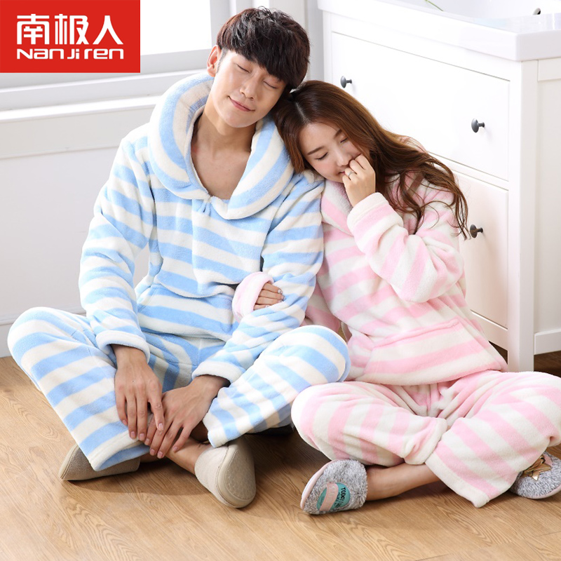 Antarctic thick warm flannel pajamas couple autumn and winter long sleeve striped jane about men and women pyjamas set
