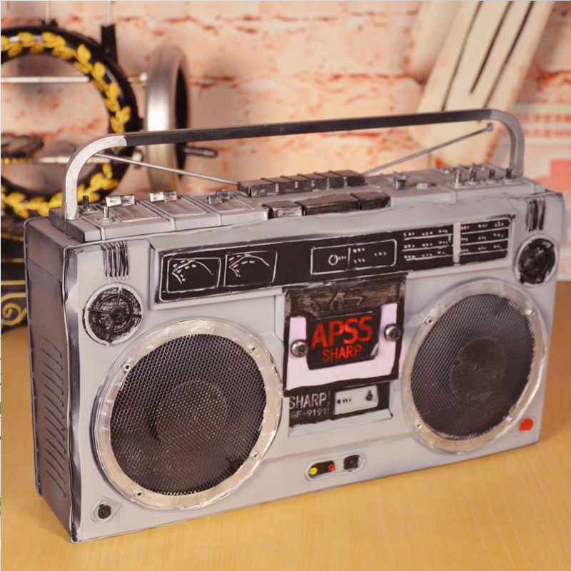 Antique radio retro tin ornaments home crafts furnishings tv cabinet ornaments creative home decorations ornaments