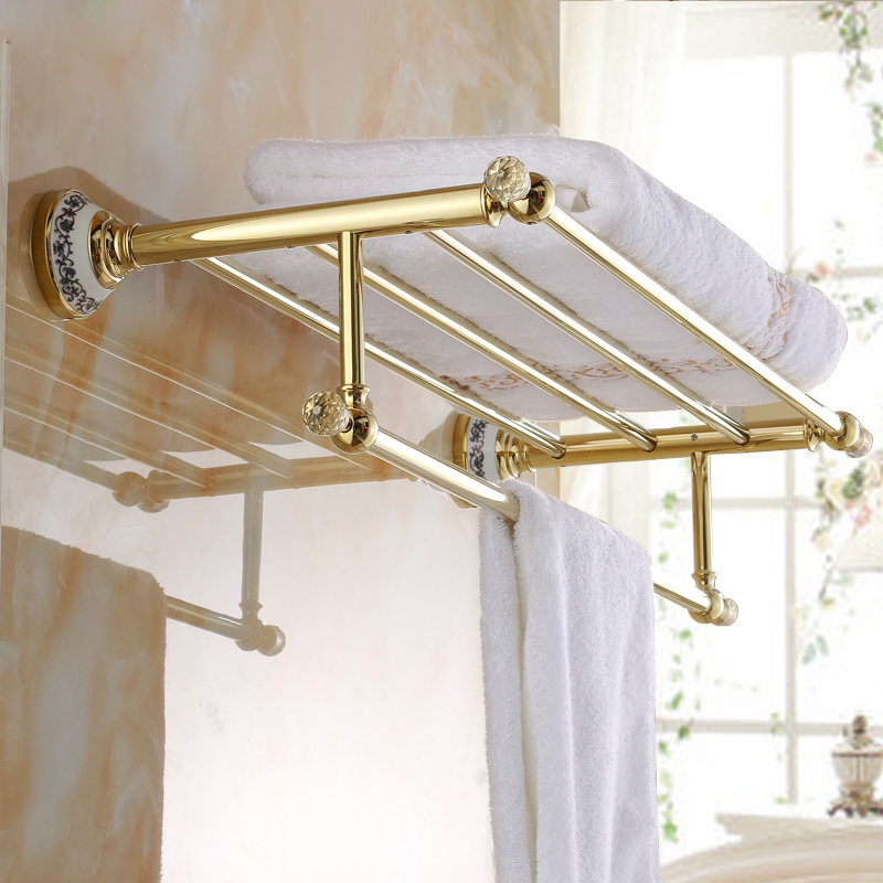 Antique rose gold black and gold bathroom towel rack double towel rack continental shelf bathroom accessories
