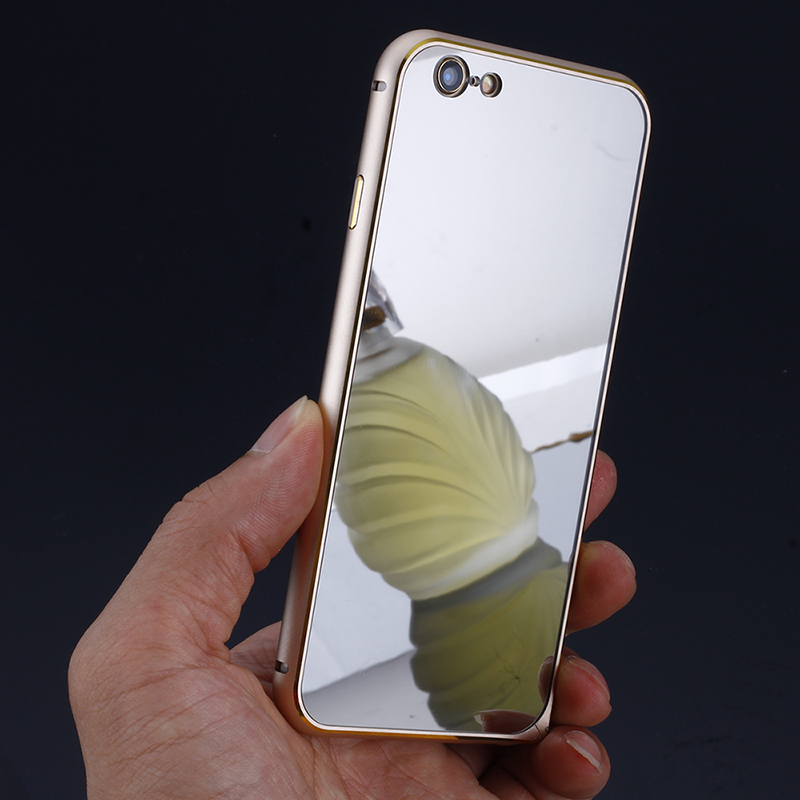 Apple 6 iphone6 phone shell metal frame mirror postoperculum s slim phone sets 4. 7 protective sleeve female tide
