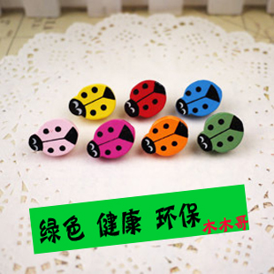 Apricot double cute cartoon ladybird pushpin pushpin creative nail wood dowel pushpin pushpin word nails nail cork