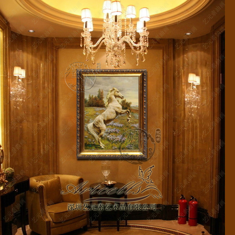 Art elements painted horse took the lead in the european painting decorative framed painting the living room office entrance YDW005