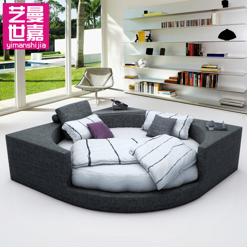 Art man sega round bed bed washable cloth double bed fashion princess same paragraph modern round bed marriage bed