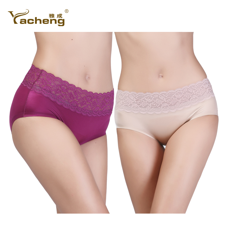 Article 2 luxury glossy ms. seamless ice silk underwear sexy lace waist cotton crotch briefs