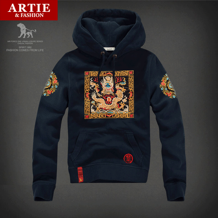 Artie embroidery chinese style men's national wind fall and winter hedging hooded sweater coat tide men's dragon robes
