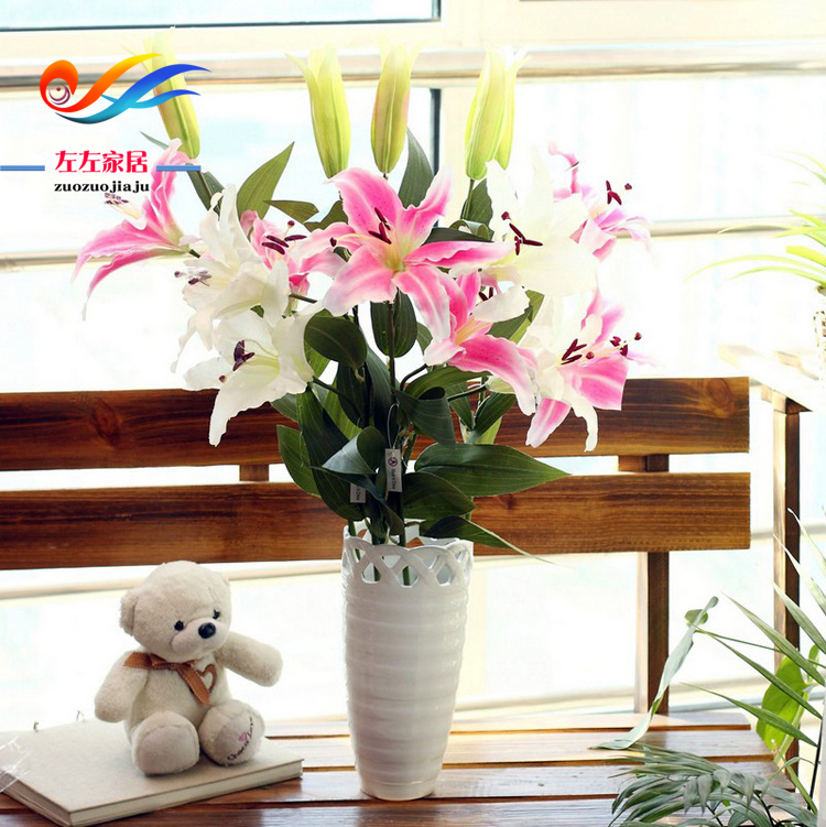 Artificial flowers artificial flowers floral furnishings artificial flowers lily flower artificial flowers decorate the living room high artificial flowers artificial flowers silk flower fake flower lily