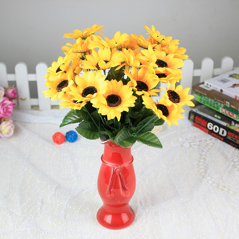 Artificial flowers artificial flowers living room decorative artificial flowers sunflower single branch small plastic flower pot room table placed flowers at home