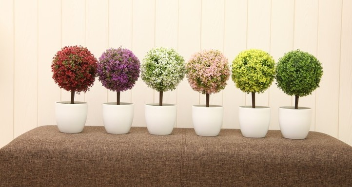Artificial plants potted bonsai tree ball flower ball grass plants fake tree decorated tree table surface decoration