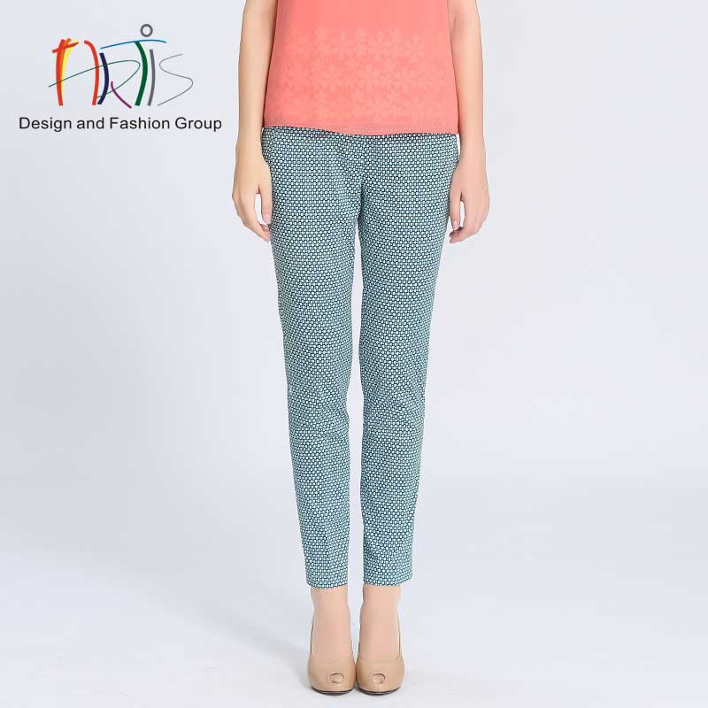 Artis artis ladieswear ladieswear malls the same paragraph printed cotton stretch pants 3814502-381518