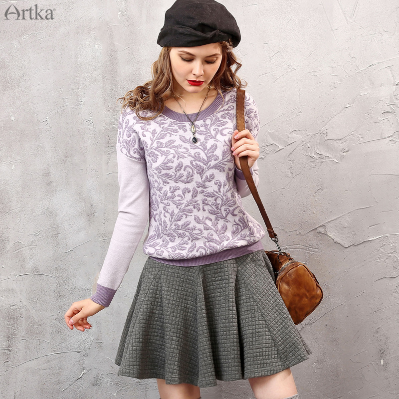 Artka aka autumn 50% women retro sweater hedging slim round neck short paragraph sweater YB11151Q