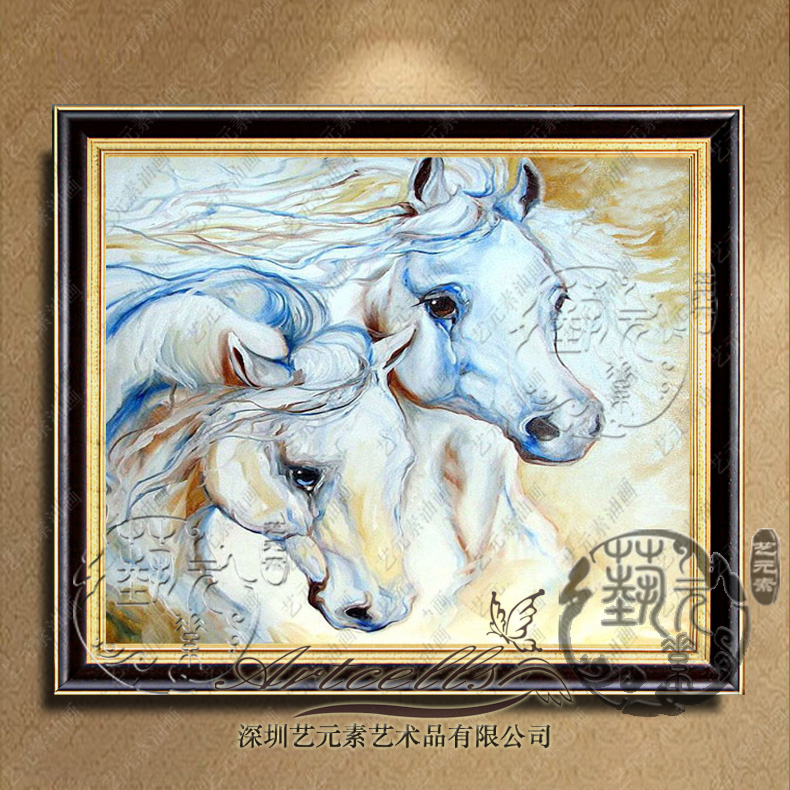 Arts and elements painted animal paintings modern villa living room den entrance hallway framed paintings YDM036 horse