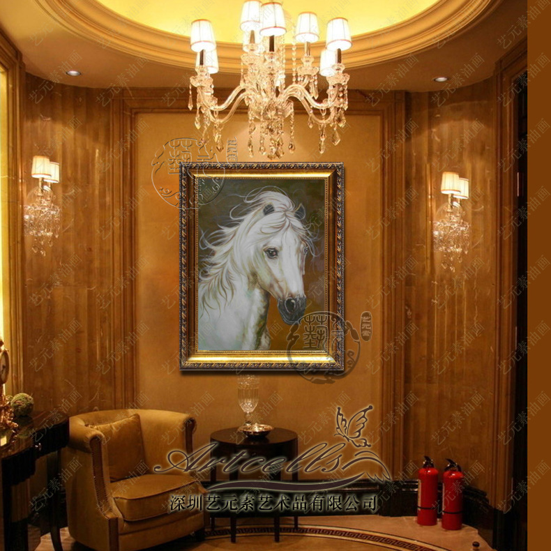 Arts and elements painted pure white horse horsehead european painting the living room office entrance decorative painting framed YDW004