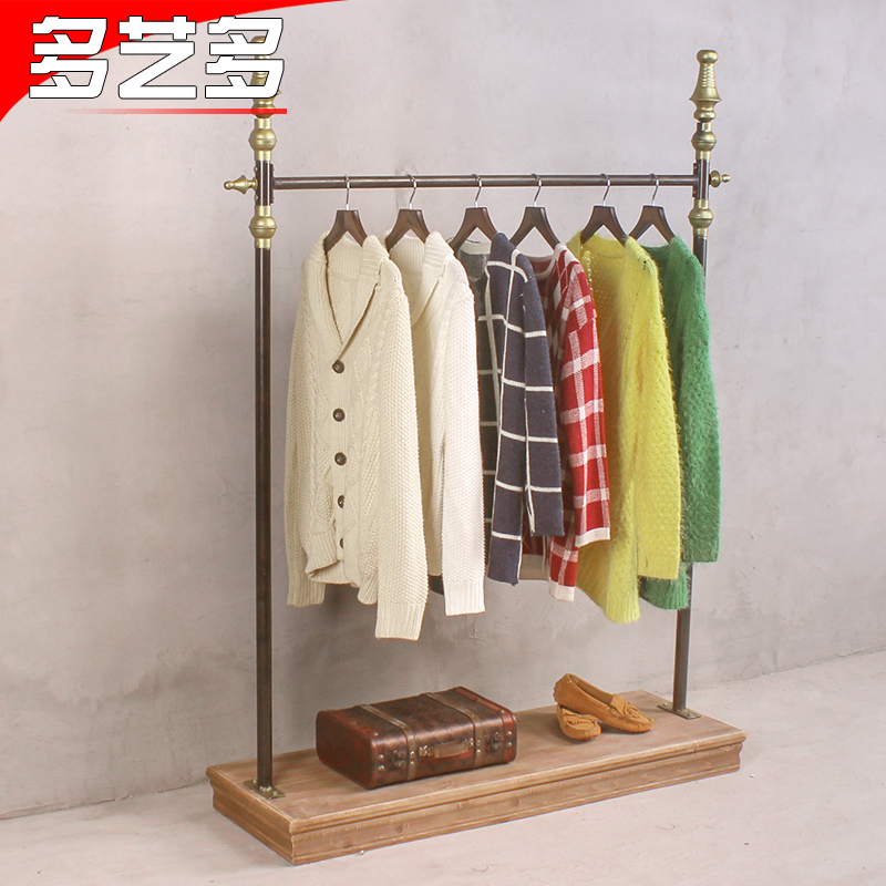 Arts and more and more new clothing store hanging clothes rack in the island shelf retro wood to do the old wrought iron clothing rack shelf display rack Shelf