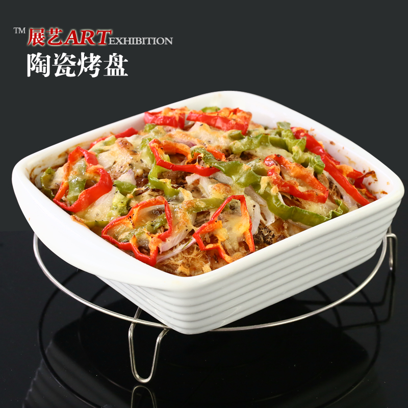 Arts exhibition rectangular ceramic nonstick pan roasted cup roasted baked rice bowl dish pizza baking mold outlet plate