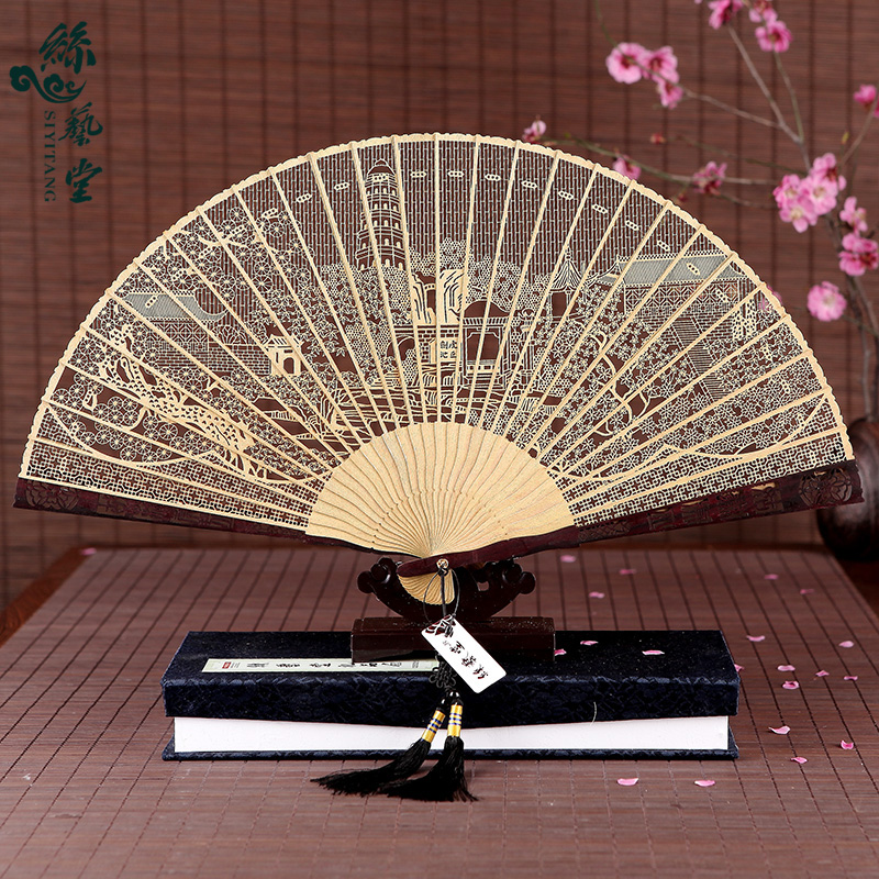 Arts hall of burma fragrant wood fan sandalwood sandalwood handle handmade craft fan fan folding fan chinese style silk fan gifts for women