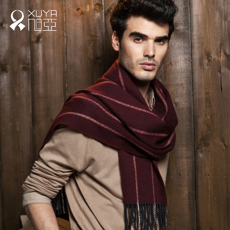 Asahi asia autumn and winter new men's business when the wind is still casual classic striped long section of thick scarf in europe and america