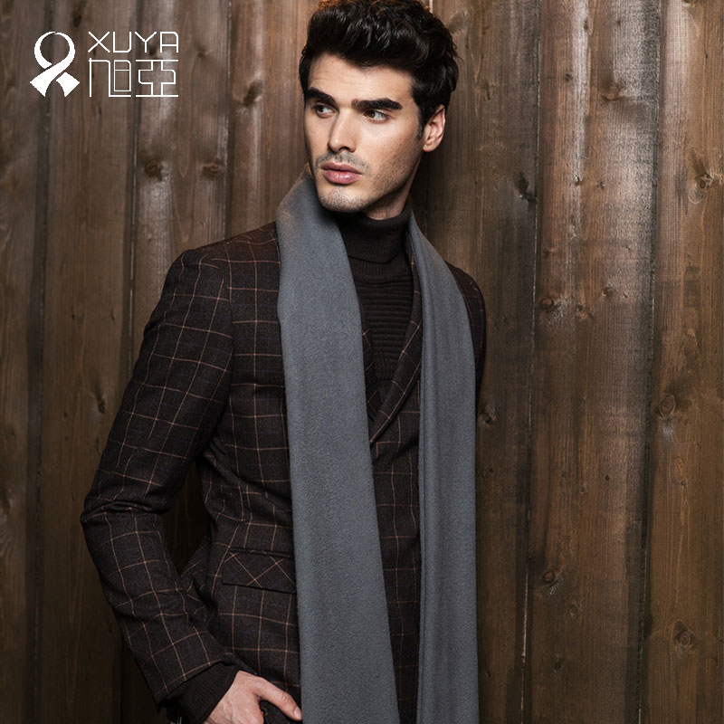 Asahi asia autumn and winter new men's business when the wind trend is still solid longer thicker cashmere scarf in europe and america