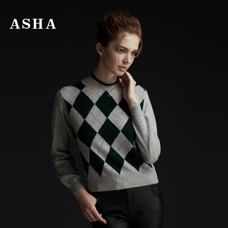 Asha/love sweaters 2016 autumn and winter new european and american diamond lattice hollow woven flowers pure cashmere sweater knit sweater women