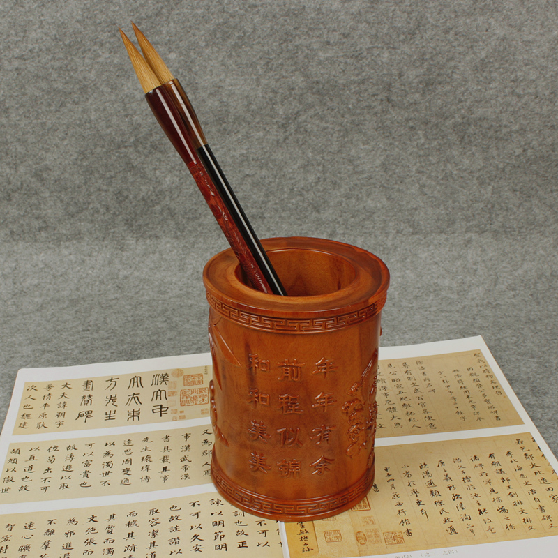 Asian pear wood mahogany pen crafts ornaments relief big brush pen four treasures of wood shipping
