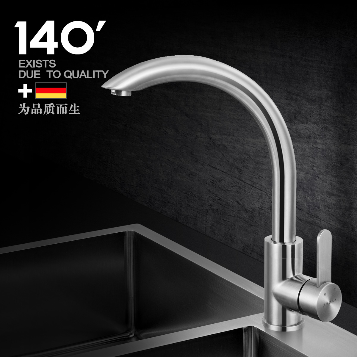 Assas 304 stainless steel kitchen sink full of hot and cold taps universal rotation vegetables basin sink unleaded